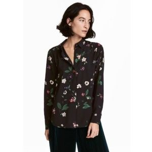 h&m Black Long Sleeve Floral Print Button Down Top